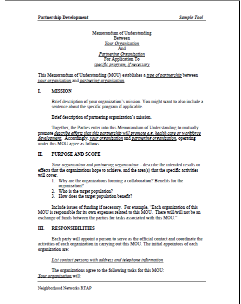 Sample memorandum of understanding mou summer matters for Template for a memorandum of understanding